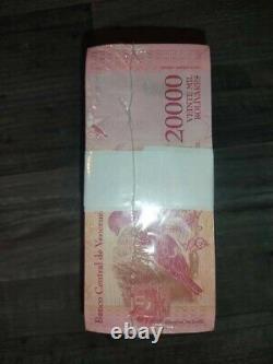 1 BRICK OF 20,000 BsF. 1,000 pieces BANKNOTES BOLIVARES FUERTES UNC VENEZUELA