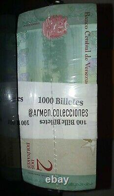 1 Brick 2bss Banknotes Bolivares Soberanos Unc Venezuela