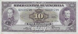 10 Bolivares 14-1-1954 G7 Extra Fine Condition Scarce