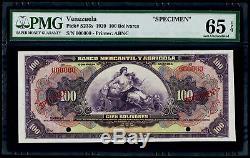 100 Bolivares 1929 Venezuela Banco Mercantily Agricola SPECIMEN PMG 65Gem Unc