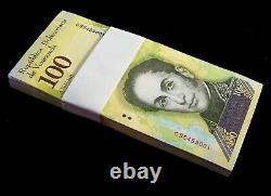 100 x Venezuela 100000 (100,000) Bolivares, 2017, P-100, about UNC banknote bundle