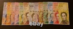 (10x) Venezuela Bolivares NEW UNC Lot 2-100000 (130 Pieces Pcs 10x Full Sets)