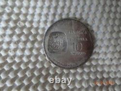 1873 VENEZUELAN COINS (x2) 10 Bs 900 Silver Coin Simon Bolivar