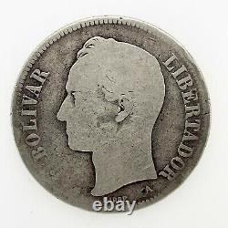1876 A VENEZUELA 5 BOLIVARES (25 GRAM). 900 Silver Coin Y#16 Scares! #2