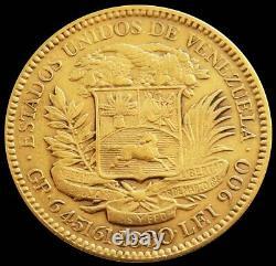 1880 Gold Venezuela 20 Bolivares 6.4516 Grams Simon Bolivar Coin Early Date
