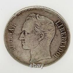 1886- VENEZUELA 5 BOLIVARES (25 GRAM). 900 Silver Coin #1 Y#24.1