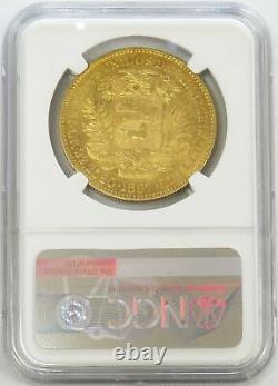 1887 Gold Venezuela 100 Bolivares Simon Bolivar Coin Ngc Au58