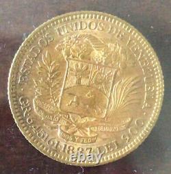 1887 Venezuela 20 Bolivares Simon Bolivar Gold Coin Xf