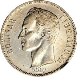 1889 Venezuela 5 Bolivares, NGC XF Details Cleaned, KM Y24.1, Very Scarce Date