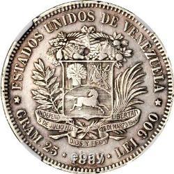 1889 Venezuela 5 Bolivares, NGC XF Details Spot Removed, KM Y-24.1 Scarce Date
