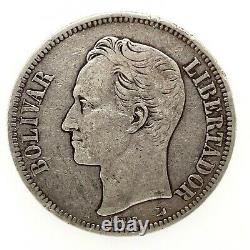 1900 VENEZUELA 5 BOLIVARES (25 GRAM). 900 Silver Coin #2 Y#24.2