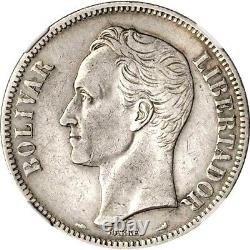 1901 Venezuela 5 Bolivares, NGC VF Details Cleaned, KM Y24.2, Very Scarce Date