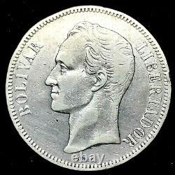 1902 VENEZUELA 5 BOLIVARES (25 GRAM). 900 Silver Coin #1 Y#24.2