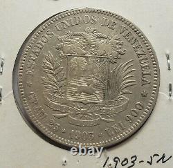 1903 Venezuela 5 Bolivares Gram 25 Silver Coins