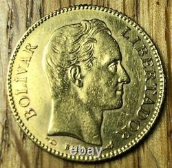 1904 Venezuela 20 Bolivares gold oro Mint State MS Uncirculated Simon Bolivar