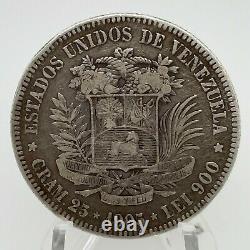 1905 VENEZUELA 5 BOLIVARES (25 GRAM). 900 Silver Coin #2 Y#24.2