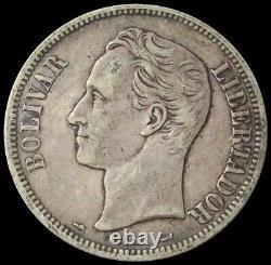 1910 Silver Venezuela 5 Bolivares Simon Bolivar Coin Oval O Variety Xf