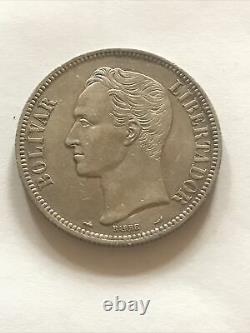 1910 Venezuela 5 Bolivars Silver Coin