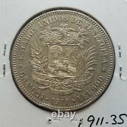 1911 Venezuela 5 Bolivares Gram 25 Silver Coins