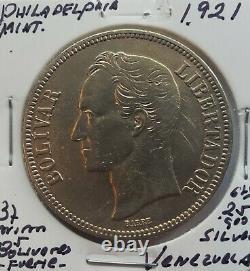 1921 Venezuela 5 Bolivares Gram 25 Silver Coins