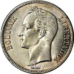 1921 Venezuela 5 Bolivares, PCGS AU 58, KM Y-24.2, Narrow Date, Scarce Date
