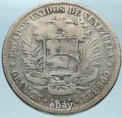 1926 Freemason President Simon Bolivar VENEZUELA Founder Silver 5 B Coin i82798