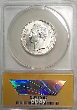 1935 2 Bolivares gram 10 Venezuela silver coin MS 63 Graded Anacs