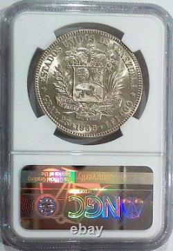 1935 MS 63+ 5 Bolivares -FUERTE-Gram 25 Venezuela Silver coin Graded NGC