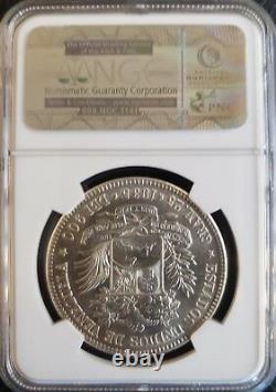1935 MS 64 5 Bolivares -FUERTE-Gram 25 Venezuela Silver coin Graded NGC