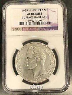 1935 Silver 5B Venezuela 5 Bolivares NGC XF Details