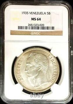 1935 Silver Venezuela 5 Bolivares Simon Bolivar Coin Ngc Mint State 64