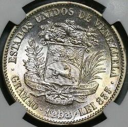 1936 NGC MS 63 Venezuela 2 Bolivares Silver Mint State Coin (20102703C)