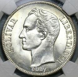 1936 NGC MS 63 Venezuela 5 Bolivares Silver 90% Mint State Crown Coin 20111201C