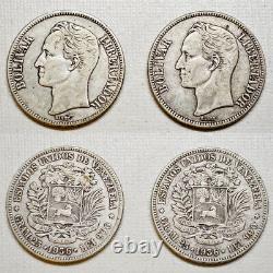 1936 Silver Coin (4 COINS) Venezuela 5 Bolivares Fuerte (P5) VF