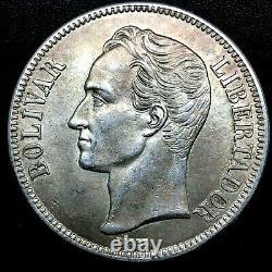 1936 VENEZUELA 5 BOLIVARES (25 GRAM). 900 Silver Crown Coin BU/MS Y#24.2 #1