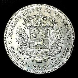1936 VENEZUELA 5 BOLIVARES (25 GRAM). 900 Silver Crown Coin BU/MS Y#24.2 #3