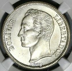 1945 NGC MS 65 Venezuela 2 Bolivares Silver Coin (19122701C)