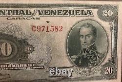 1947 Venezuela Extrafine Note 20 Bolivares Bs 0ctubre 18- 1947 Prefix C971582