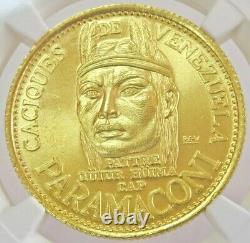 1955 Gold Venezuela 22.2 Gram Paramaconi 60 Bolivares Caciques Coin Ngc Ms 66