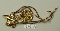 1962 Caciques De Venezuela 5 Bolivares. 900 Gold Coin In 18KT Leaf Brooch 7.7g
