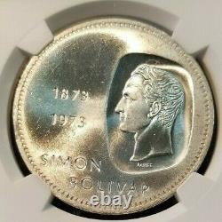 1973 Venezuela Silver 10 Bolivares Boliviar Centennial Ngc Ms 65 Gem Bu Beauty