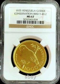 1975 Gold Venezuela 1000 Bolivares Wwc Rock Bird High Relief Ngc Mint State 67