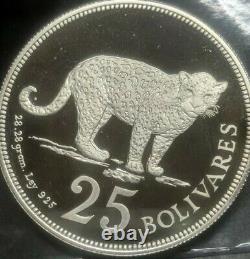 1975 Venezuela 25 Bolivares DCAM Proof. 925 Silver Superb Flawless Rare Coin