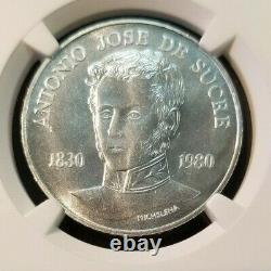 1980 Venezuela Silver 75 Bolivares S75b Sucre Sesquicentennial Ngc Ms 66 Gem Bu