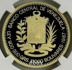 1987 Gold Venezuela 10,000 Bolivares Coin Ngc Proof 69 Ultra Cameo