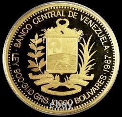 1987 Gold Venezuela 10,000 Bolivares Proof Simon Bolivar Coin In Capsule