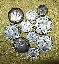 2 BOLIVARES 1945 / 1 BOLIVAR 1954 / 1960 VENEZUELA LOT de 10 MONNAIES ARGENT