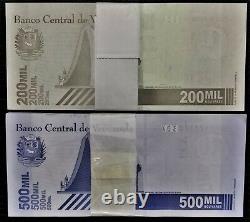 2 Bundles (200 Pcs) New 200.000 & 500.000 Bolivares 03.09.2020 Venezuela Unc