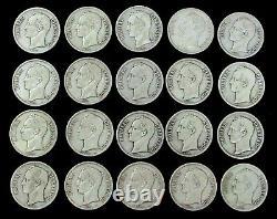 (20) 1911 1936 Dated Silver Venezuela 5 Bolivares Coins