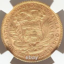 20 Bolivares Gold Venezuela 1912 NGC AU-55 Mint Luster